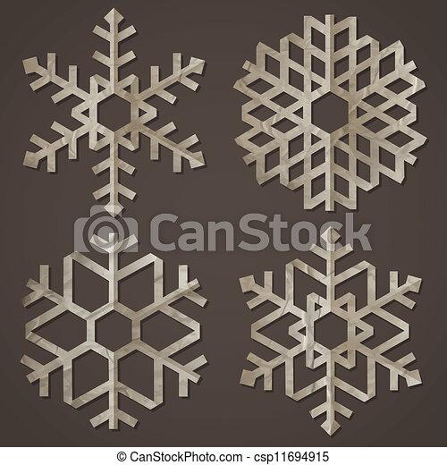 papel, antigas, snowflakes - csp11694915
