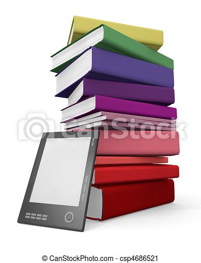 Digital y biblioteca de papel - csp4686521