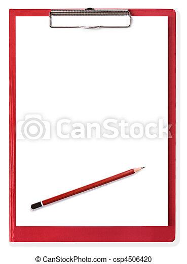 Una pizarra roja con papel y lápiz en blanco - csp4506420