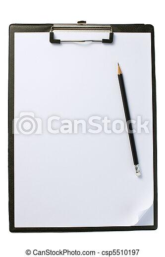 Clipboard con papel y lápiz en blanco - csp5510197
