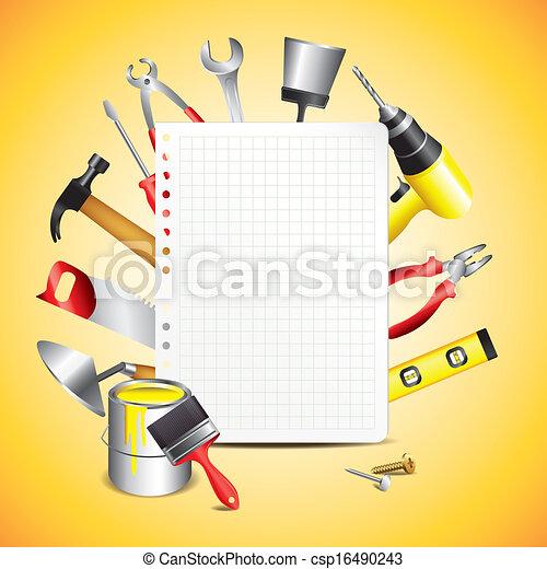papel construção, ferramentas, em branco - csp16490243