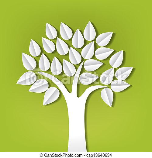 Árbol hecho de papel cortado - csp13640634