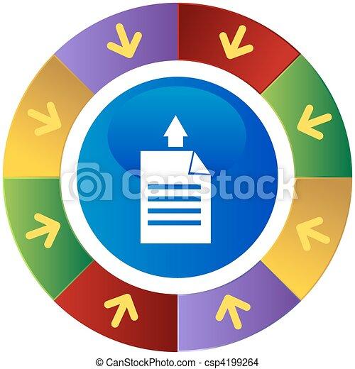 papel, direção, imprimindo - csp4199264