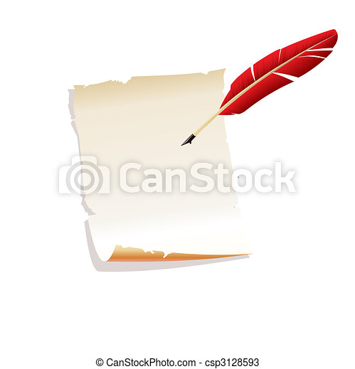 Papel y pluma. Vector - csp3128593