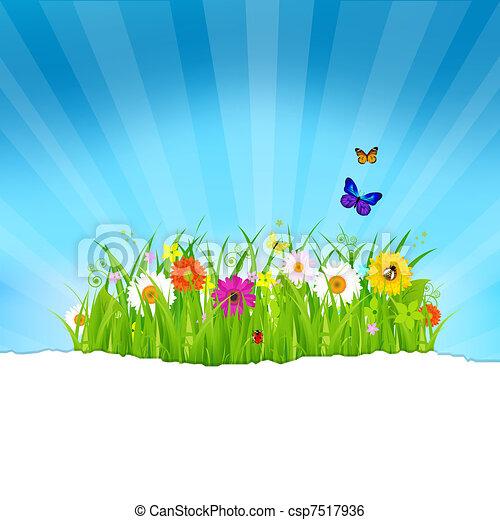 Hierba verde con flores y papel - csp7517936