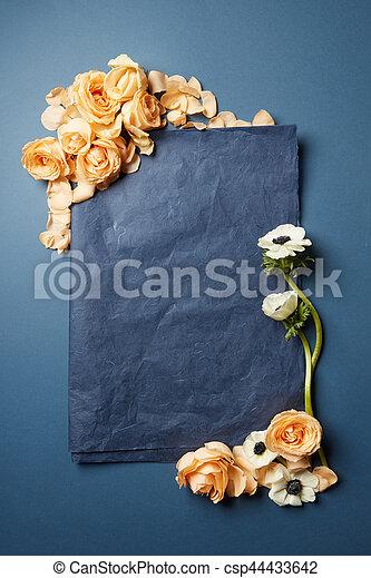 papel, flores, pedazo, negro - csp44433642