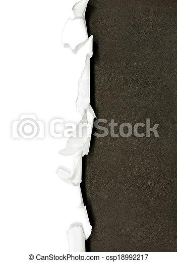 papel, fronteras, rasgado, aislado, blanco - csp18992217
