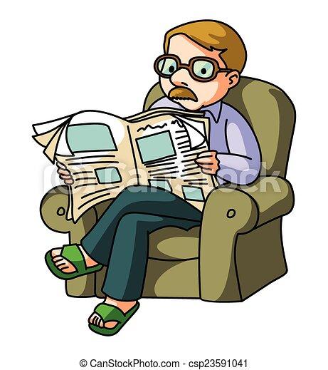 El hombre lee el periódico - csp23591041