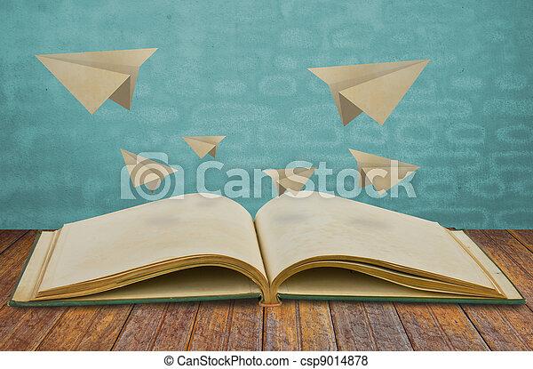 papel, magia, livro, avião - csp9014878