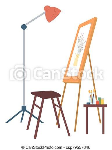 papel, pasatiempo, flores, pintura, vector, lugar de trabajo - csp79557846