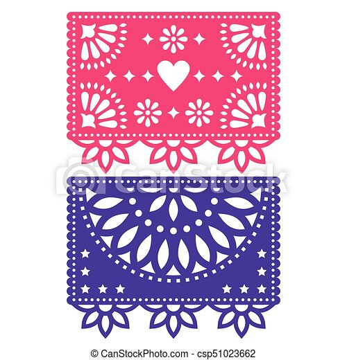 Papel Picado vector template design set, Mexican paper decorations flowers and geometric shapes, two party banners - csp51023662