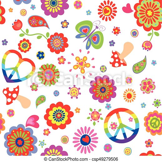 Papel pintado hongo hippie colorido mariposa infantil - Infantil papel pintado imagenes ...