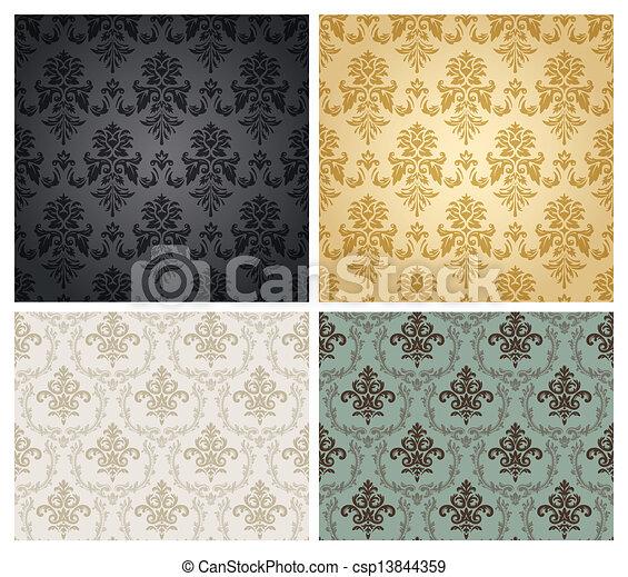 Patrón de papel pintado de damasco sin costura. - csp13844359