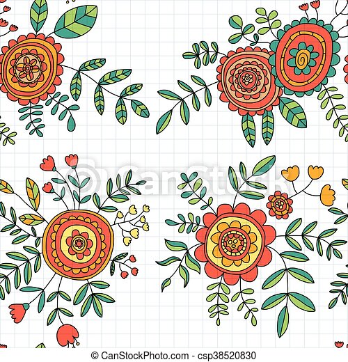 Papel pintado, textil, tela, flor, bolsas, papel, garabato, hojas ...