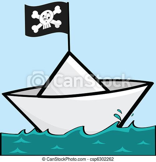 Ilustración Caricatura Bandera Papel Pirata Barco