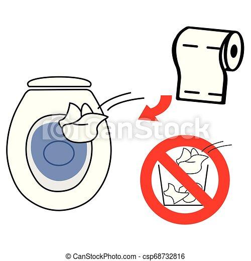 Tirar papel higiénico usado en el inodoro - csp68732816