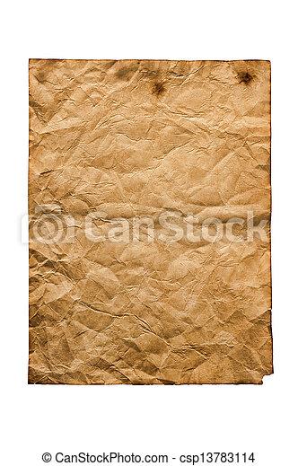 Un viejo papel aislado en un fondo blanco - csp13783114