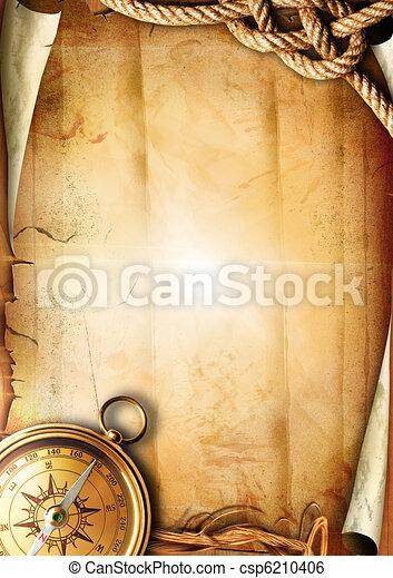 Vieja textura de papel con una brújula - csp6210406