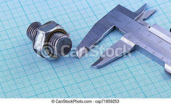 paper., écrou, calibre, ingénierie, boulon - csp71859253