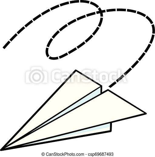 A Cartoon Illustration Of A Flying Paper Airplane