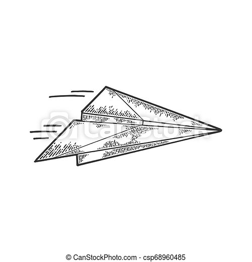 Paper Airplane Fly Sketch Engraving Paper Airplane Creation