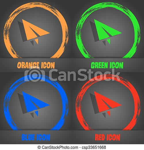 Paper airplane icon. Fashionable modern style. In the orange, green, blue, red design. Vector - csp33651668