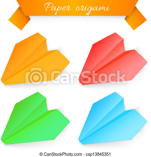 Paper airplane origami. vector illustration.