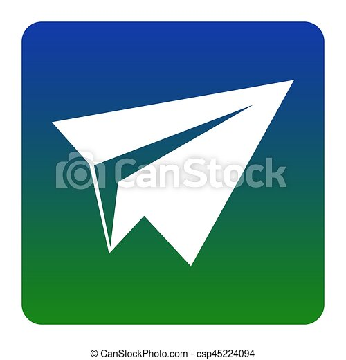 Paper airplane sign. Vector. White icon at green-blue gradient square with rounded corners on white background. Isolated. - csp45224094