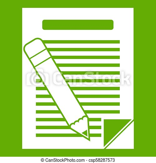 Paper and pencil icon green - csp58287573