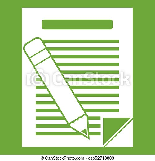 Paper and pencil icon green - csp52718803