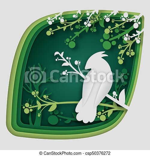 Paper art carve to bird on tree branch in forest at night, origami concept nature and animals idea, vector art and illustration. - csp50376272