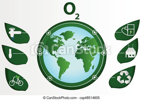 Line Art Earth : Paper art ecology world environment earth green white water vector