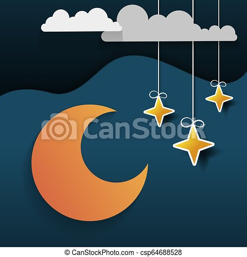 Paper Night Sky Paper Art Origami Style Clouds And Crescent Moon ... | 470x450