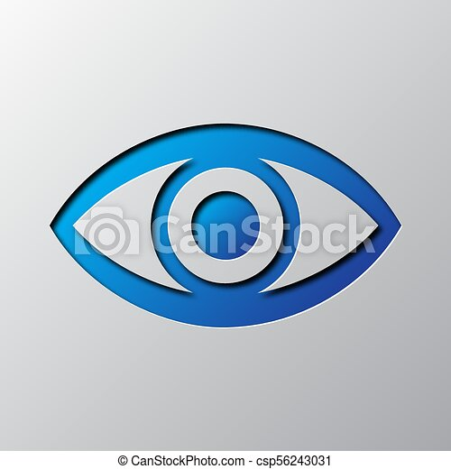 Paper art of the blue eye icon. Vector illustration. - csp56243031