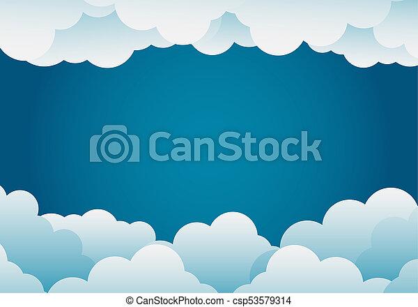 paper art style cloud background blue .vector illustration - csp53579314