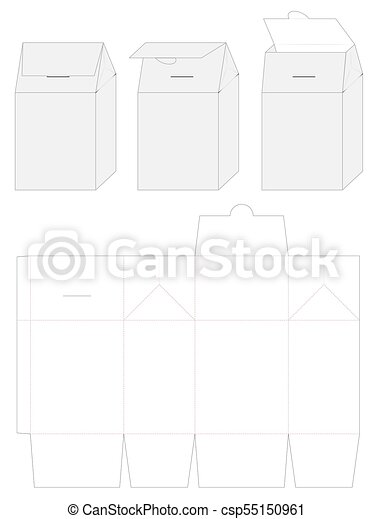 Paper bag die cut mock up template vector.