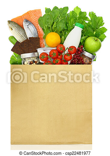 Paper bag filled with groceries - csp22481977