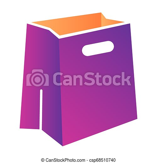 Paper bag flat icon. Package color icons in trendy flat style. Shopping bag gradient style design, designed for web and app. Eps 10. - csp68510740