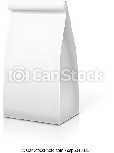paper bag for food coffee tea white blank package template paper