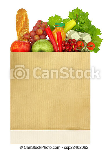 Paper bag full of groceries isolated on white - csp22482062