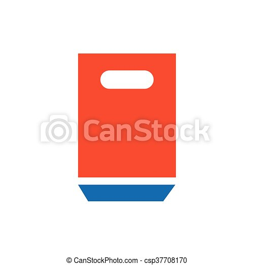 paper bag icon blue and orange - csp37708170