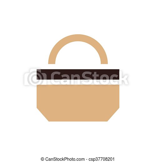 paper bag icon design brown color - csp37708201
