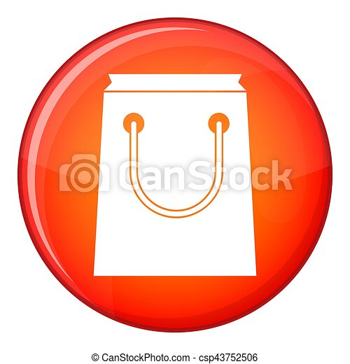 Paper bag icon, flat style - csp43752506
