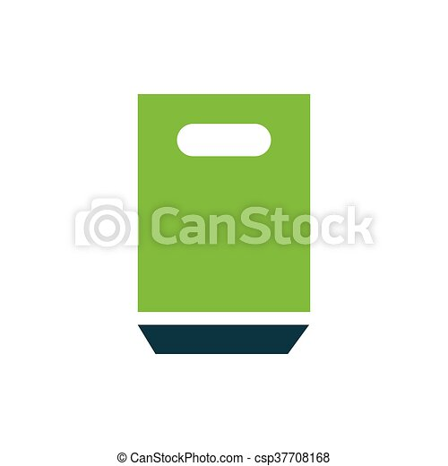 paper bag icon green - csp37708168