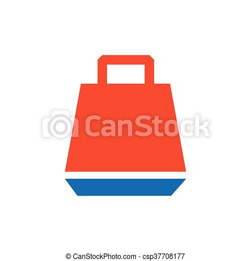 paper bag icon vector blue and orange - csp37708177