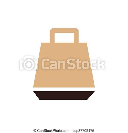 paper bag icon vector brown color - csp37708175