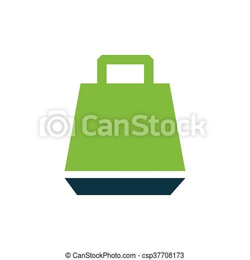 paper bag icon vector green - csp37708173