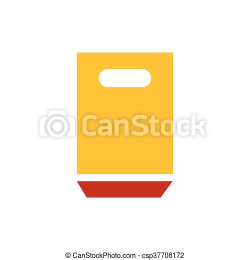 paper bag icon yellow and red color - csp37708172