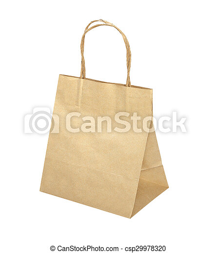 Paper bag isolated on white background - csp29978320
