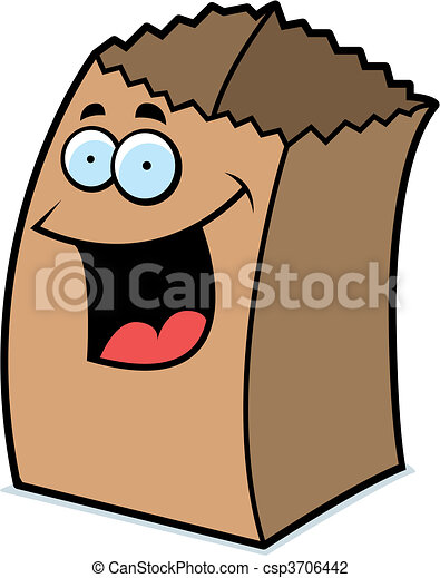 paper bag smiling a cartoon paper bag happy and smiling vector rh canstockphoto com brown paper bag clipart paper bag clipart black and white